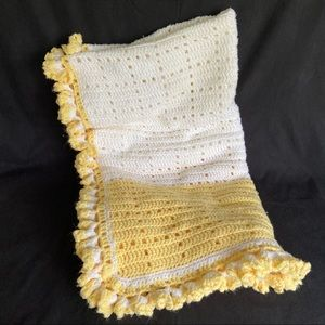 Other - Yellow and White Handcrafted Crochet Afghan Throw
